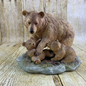 Vintage Grizzly Bear Figurine Mom X Cubs Homco